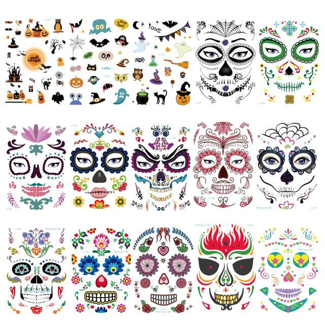 8acfe2a0b0077 15pcs Mask Temporary Tattoos Stickers Day of The Dead Skull Face Halloween  Party Cool Beauty Tattoo
