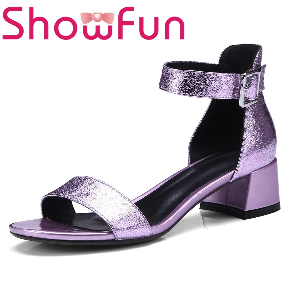 Showfun genuine leather shoes woman dress fashion solid buckle strap cover heel square heel sandals showfun 2018 genuine leather retro faux