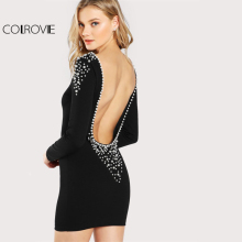 COLROVIE Pearl Beading Embellished Open Back Round Neck Dress