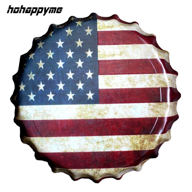 Національний прапор дорожній ковпачок пляшка декоративні металеві пластини наліт Vintage паб стіни мистецтва металевий знак прапор Vintage Home Decor 35 CM