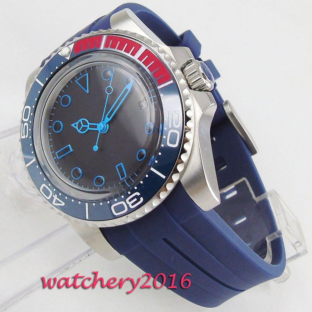 Mode 40mm Bliger Noir cadran Stérile aucun logo Calendrier Complet en céramique Lunette Mouvement Automatique Mechancial business Mens watch