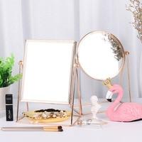 Princess Metal Desktop Stand Mirror Personal Framed Makeup Side Mirror 360 Degree Rotating Rose Gold Tri angle Seat Streamline