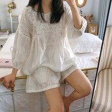 Cute Womens Lolita Princess Pajama Sets Cotton Tops+Shorts.Vintage Lady Girls Lace Pyjamas set.Victorian Sleepwear Loungewear