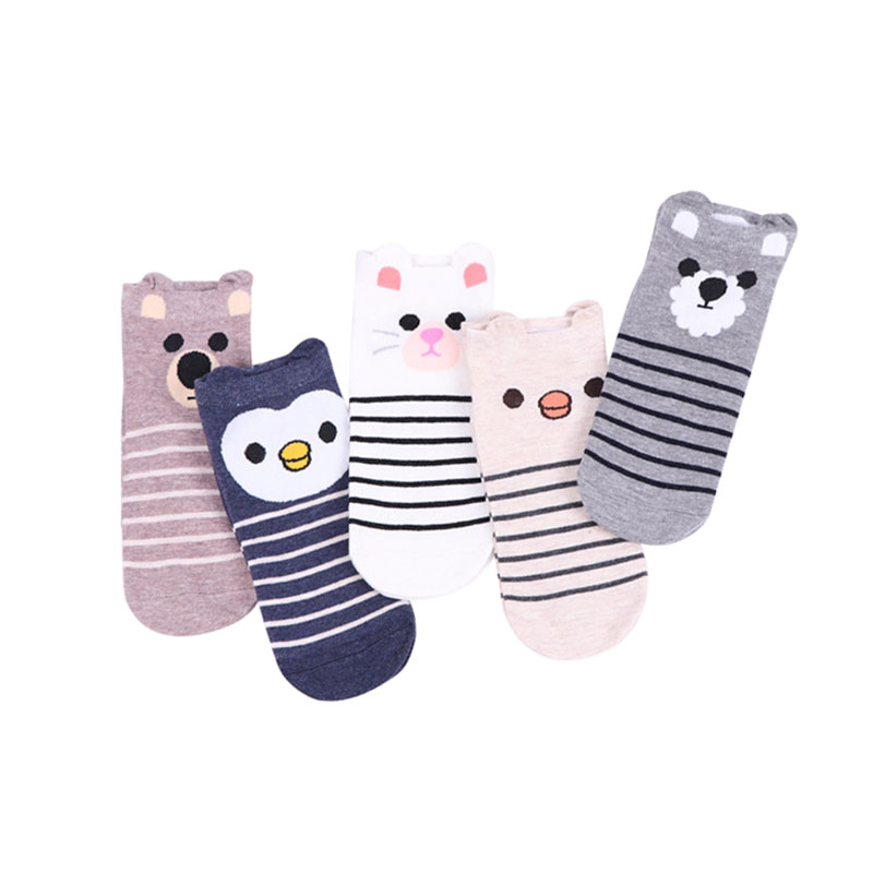 5pairs Cute Girls Socks 3D Ear Cartoon Animal Zoo Cotton Soft Sox Creative Kawaii Jumbo Socks Female Women's Socks Meias Hosiery