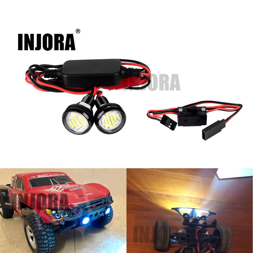 INJORA RC coche 22MM Faro de Color blanco luces LED con interruptor para 1/10 de recorrido corto camión Traxxas Slash