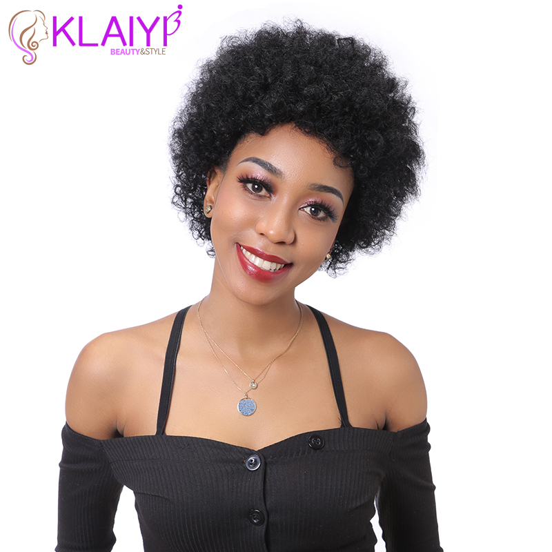 Klaiyi Hair Afro Kinky Curly Hair Wig 6 INCH Short Brazilian Remy Human Hair Wigs 1