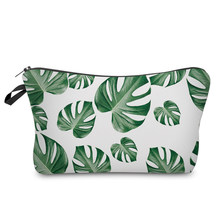 BBL Tropical Palm Green Leaves 3D Printed Fresh Fashion Style Makeup Bag Cosmetic Case for Women Kosmetyczka Neceser Maquillaje(China)