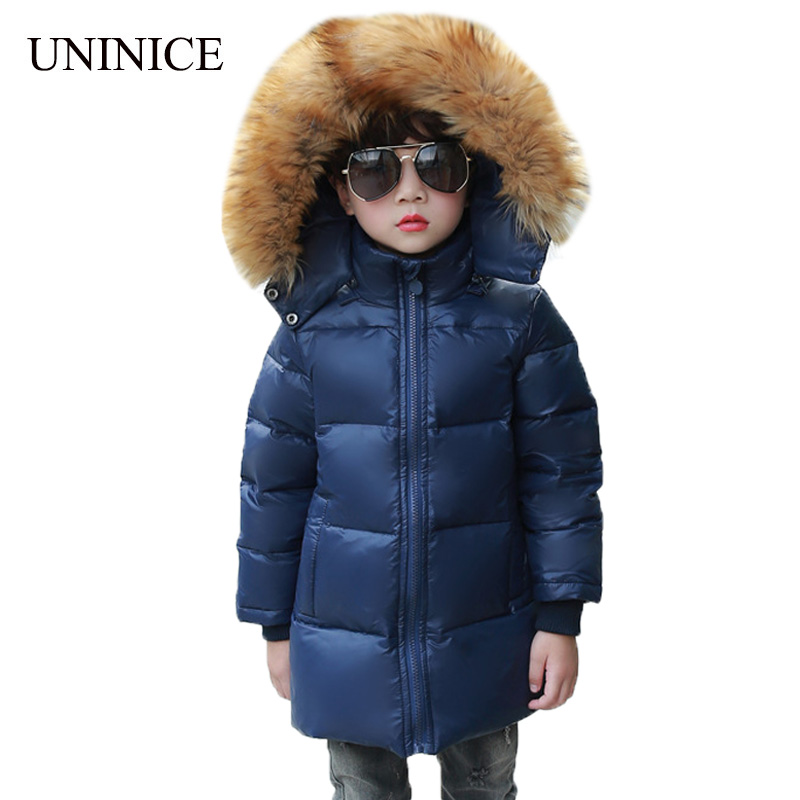 UNINICE Fashion Children's Down Jackets Coats Boys Big Fur Hooded Coat Girls Thicken Warm Duck Down Jacket Outerwear Cold Winter 100% white duck down women coat fashion solid hooded fox fur detachable collar winter coats elegant long down coats