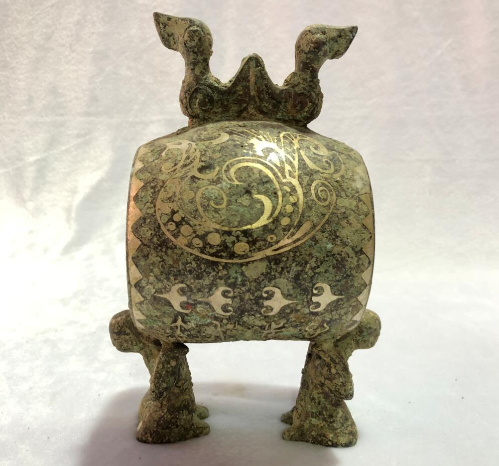 Ancient Chinese Old bronze item Fine antique home art decoration drum statue High collection value