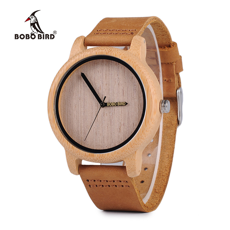 BOBO BIRD C-A22 Brand Design Needle Watches for Men Laides Genuine Leather Strap Cool Quartz Watch with Bamboo Case мягкая игрушка promise a nw113501 bobo 35cm