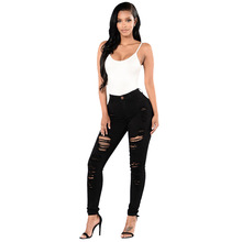 2019 High Waist Jeans Botton Ankle Length Jeans for Women Stretch Skinny Boyfriend Hole Ripped Pencil Pants Plus Size
