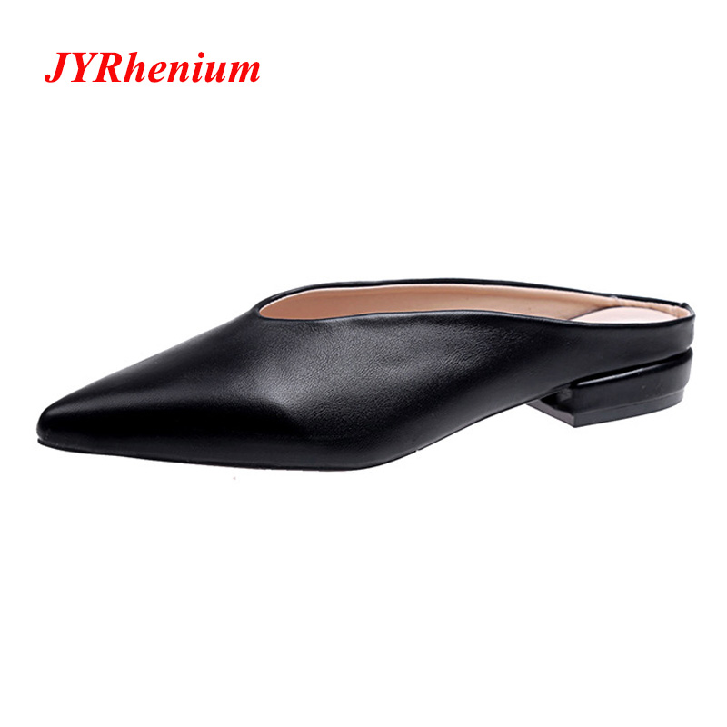JYRhenium Leather Women's Flat Slippers 2018 Autumn Fashion Pointed Toe Slip On Woman Slides Shoes Outside Black Mules For Women phyanic fashion women s slide on slip on mule star bee embroidery loafer flats shoes slides slippers new woman mules outside