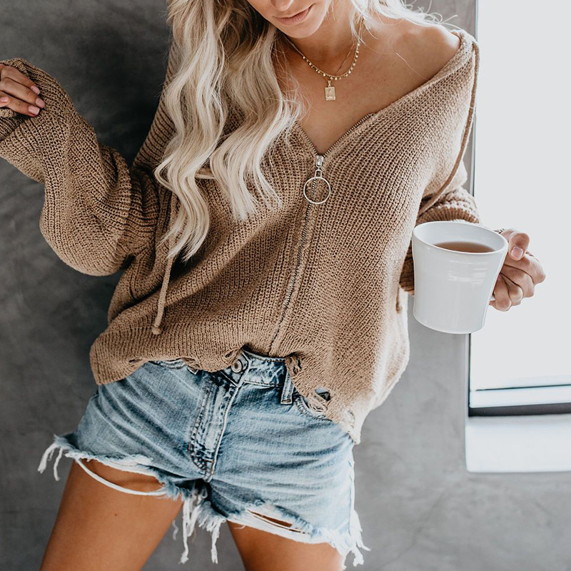 Autumn winter hole sweater 2019 knitted women sweaters zipper cardigan hoodedcoat casual loose female cardigans