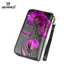 GENMEO New Genuine Leather Wallet Women Cow 3D Purple Flower Purse with Card Holder Female Clutch Bag Bolsa Feminina