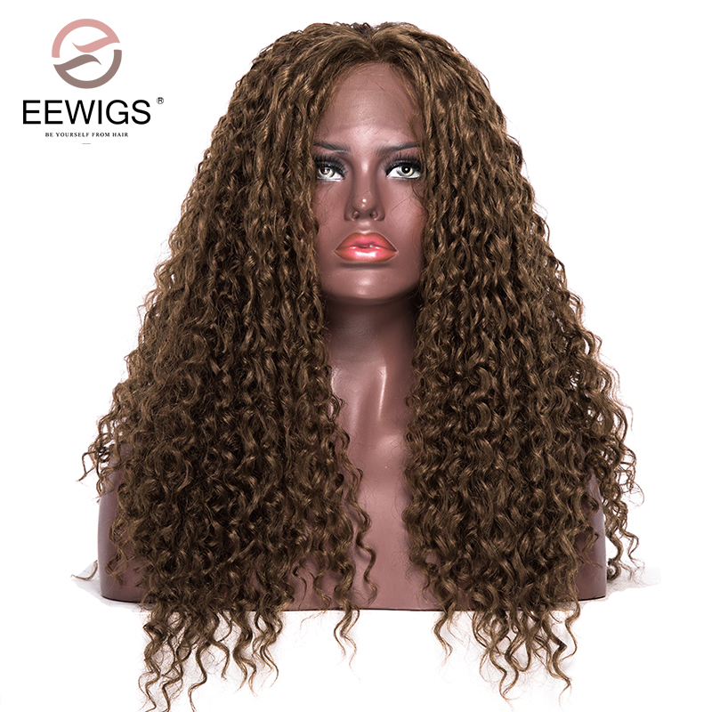 EEWIGS химическое Синтетические волосы на кружеве парики натуральный коричневый странный вьющиеся светлые Однотонная одежда парик Длинные т...
