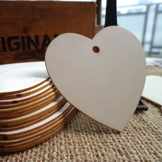 100pcs Wooden Party Gift Tag 6cm Heart shape Wood Hang Tag Strings included Wood cards for Party Favor Box Candy Bag Decor