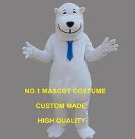 Белый вежливый улыбка Polar Bear Талисмана Персонаж Мультфильма джентльмен медведь тему аниме маскарадные костюмы Карнавал 2639