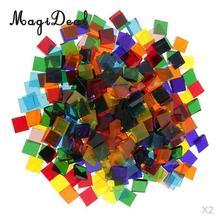 MagiDeal 500 шт разноцветная квадратная стекловидная прозрачная стеклянная мозаичная плитка Tessera для самостоятельных проектов мозаичная мозаика уникальный дизайн