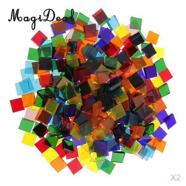 MagiDeal 500 Piece Multicolor Square Vitreous Clear Glass Mosaic Tiles Tessera For DIY Projects Mosaic Making Unique Design