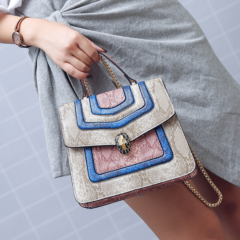 New Arrival Trendy Shoulder Snake Small Square Bag Magnetic Buckle Handbag Chain Fashion Shoulder Bag Crossbody Bags for Women 5