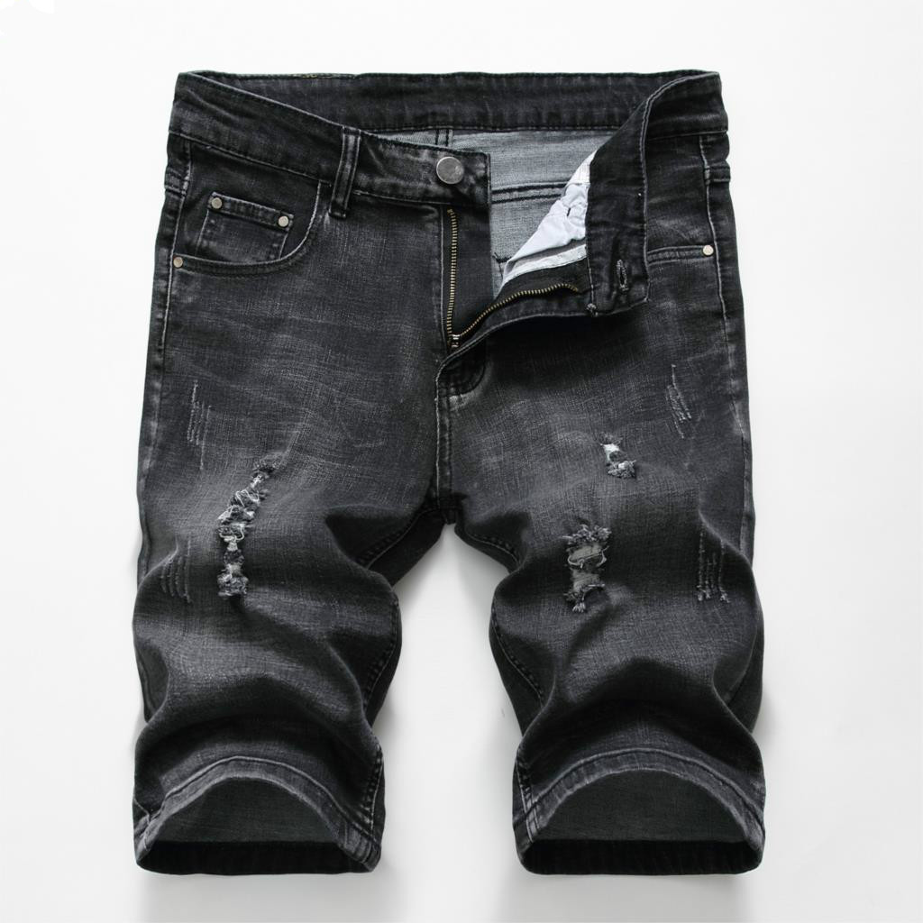 Yaolor-Men Destroyed Distressed Ripped Hole Cotton Denim Shorts
