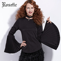 Rosetic Gothic Blouse Autumn Black Flare Sleeve O-Neck Straight Goth Fashion Women Shirts Slim Street Tops Dark Gothics Blouses