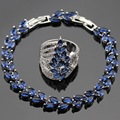 Ashley 2PCS Blue Created Sapphire White CZ Silver Color Bracelet Rings Jewelry Sets For Women  Free Gift Box