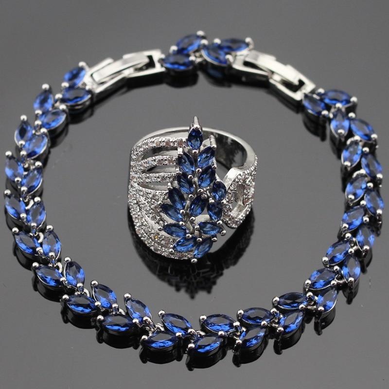 Ashley 2PCS Сини камъни Бял CZ сребърен цвят гривна пръстени Комплект бижута за жени Безплатна подаръчна кутия