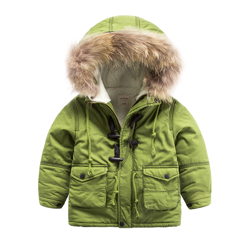 Children with hooded cotton velvet 2016 winter new color warm fur collar coat boy baby coat