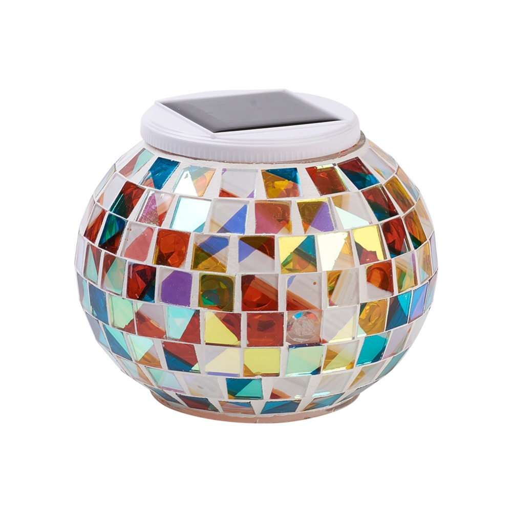 Solar Powered Mosaic Glass Ball Garden Lights Car LED Decorative Lamp Auto Atmosphere Light  Car Styling