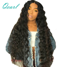 Long Length 24262830 Water Wave Lace Front Human Hair Wigs Pre Plucked Natural Black Remy 13*4 Qearl