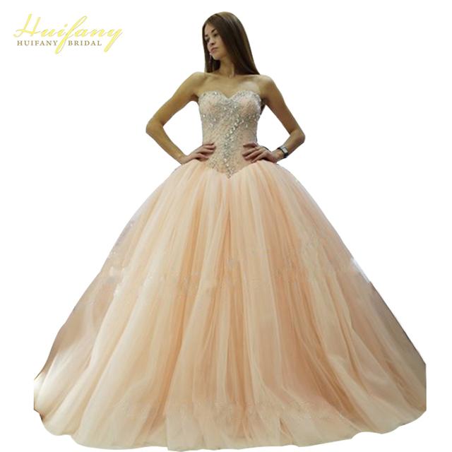 2017 Sparkly Pesado Baguetes Cristal Coral Vestidos Quinceanera Querida Longo Até O Chão vestido de Baile vestido de Debutante Vestidos de Baile