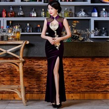 Womens Clothing Accessories - World Apparel - Original Dresses Violet Velvet Cheongsam Stretch Chinese Traditional Dress 2017 Fashion Sexy Qipao Women Long Purple Gown Qi Pao