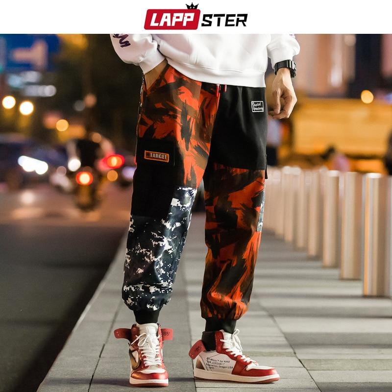 LAPPSTER Men Color Block Cargo Pants 2019 Streetwear Hip Hop Harem Pant Ankel Length Camo Pants Patchwork Sweatpants Camouflage