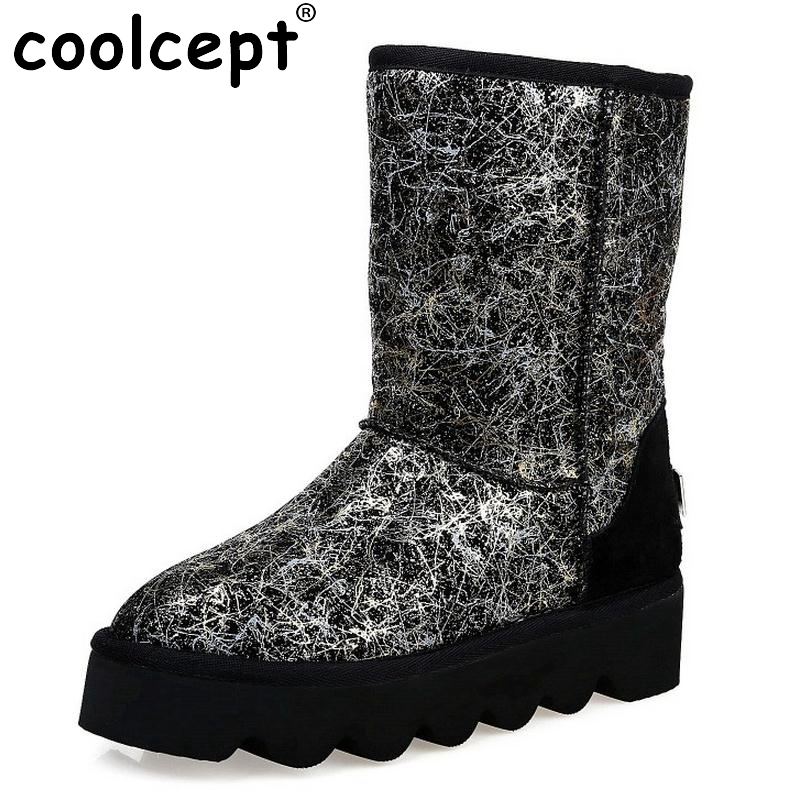 ФОТО Women Real Leather Half Boots Winter Snow Plush Method Two Boots Lady Flats Fashion Round Toe Botas Mujer Women Shoes Size 33-43
