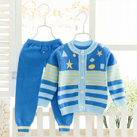 Baby Infant Winter Warm Knitting Clothing Set Newborn Striped Sweater+Pants Outfits 2Pcs Toddler O neck Tracksuit Set AA52203
