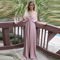 Puseky Sexy Women Boho Maxi Club Dress Pink Bandage Long Dress Party Multiway Bridesmaids Convertible Robe
