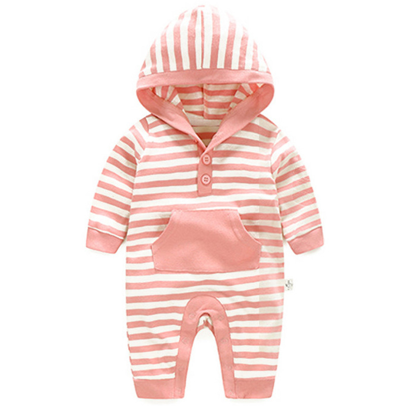 Baby Clothing Striped Hooded Rompers Newborn Body Suit Kids Clothes Boy Girl Jumpsuit Baby Romper Warm Cotton Infant Overall newborn boy clothes christmas baby rompers long sleeve newborn clothing baby girl romper cotton baby jumpsuit infant rompers