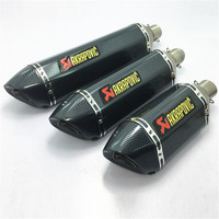 Motorcycle Exhaust Universal 51mm Length 570mm 470mm 380mm Stainless Steel Akrapovic Carbon Fiber Color Scooter Exhaust Muffler