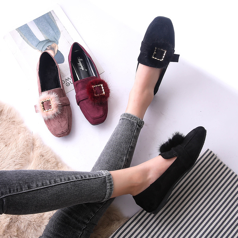 2019 autumn new large size women's shoes comfortable soft bottom flat shoes fashion retro casual shoes suede square head single