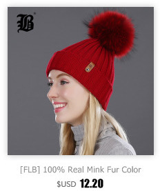[FLB] Wholesale Real Mink Fur Pom Poms Knitted Hat Ball Beanies Winter Hat For Women Girl 'S Wool Hat Cotton Skullies Female Cap 82