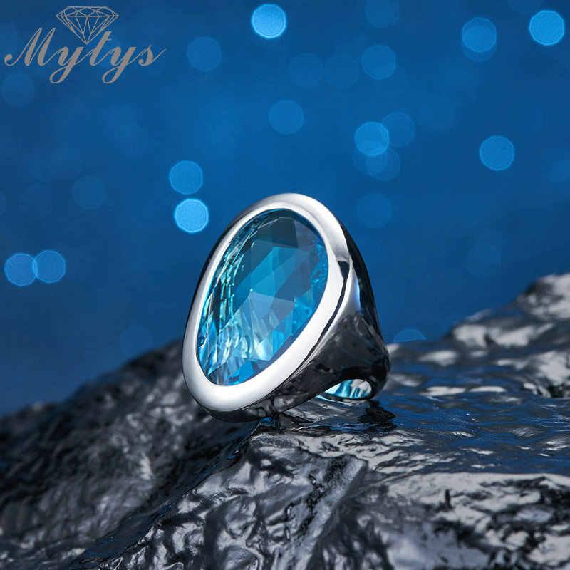 Mytys Klar Ozean Blau Glas Stein Schmuck Sets für Frauen Mode Anhänger Halskette Ohrringe Ring Sets Drop Shipping Geschenk