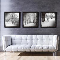 Retro Vintage Snowing Landscape Canvas Art Prints Oil Painting Silver Sky Horse under Tree Wall Picture Home Adorned no Frame