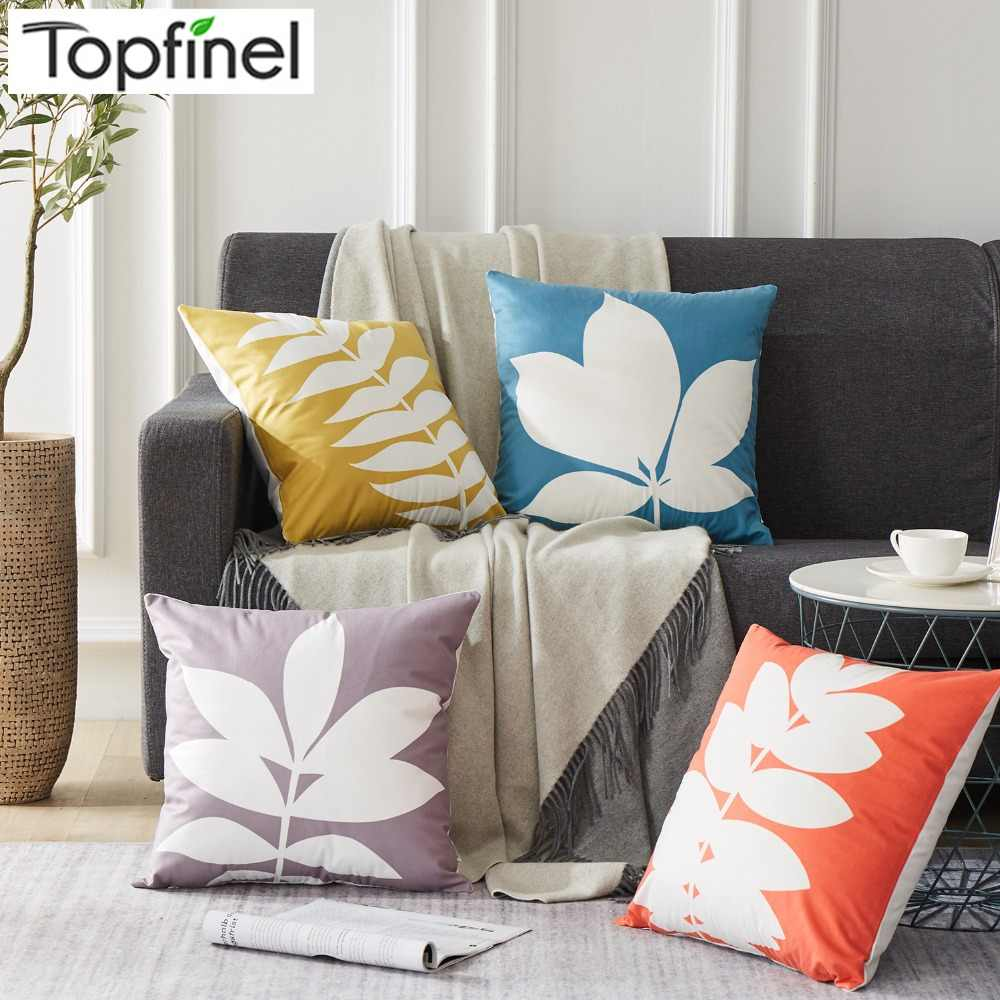 Topfinel Colorful Elegant Plant Leaves Home Decorative Throw Pillowcases Cushion Covers For Home Sofa Seat Chair Bed Car 45x45cm