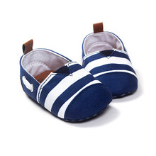 Newborn Baby Boys girls Leisure Toddler shoes Kids First Walkers Shoes Infant Babe Crib Soft Bottom Striped Loafer Shoes(China)