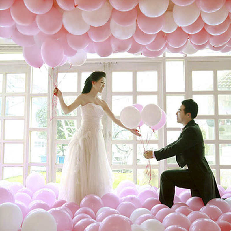 100pcs! 10-inch thick round matte color balloons latex balloon for wedding Party