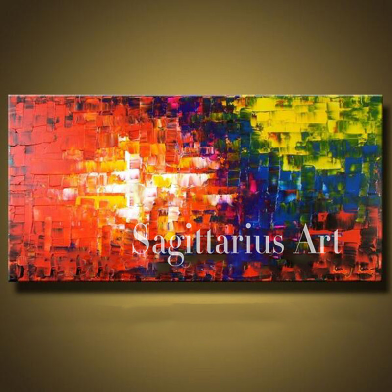 Hand Painted High Quality Modern Palette font b Knife b font Painting Red sunset Metal Wall