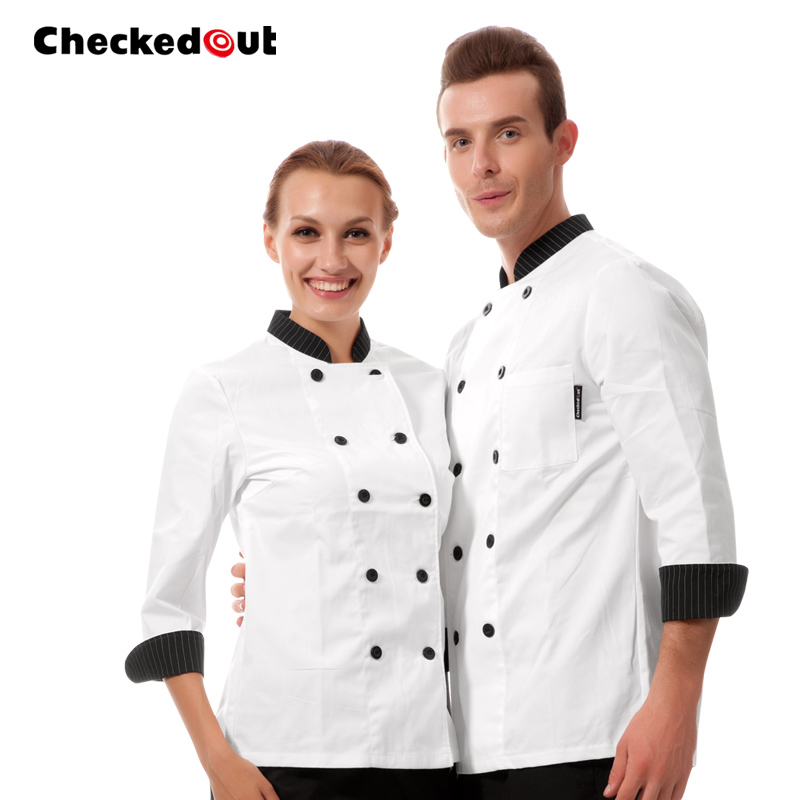 high quality chef unforms Black and white stripes cook suit long-sleeve kitchen chef  clothes cook  uniform work wear autumn