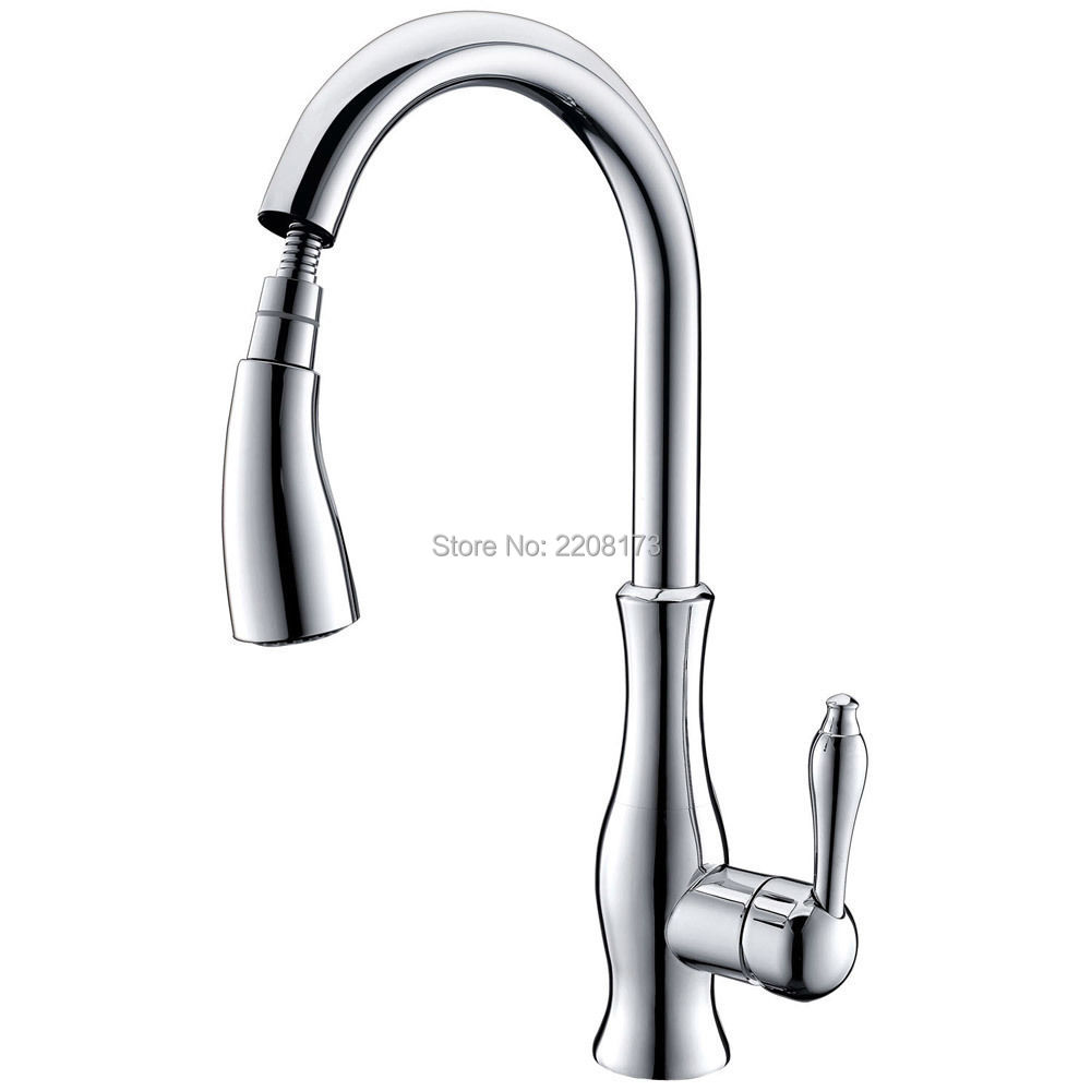 Smesiteli 100% Brass Polished Chrome Or Brushed Nickel Finish Single Hole Kitchen Faucet with Pull Out Spray Monobloc Mixer Tap