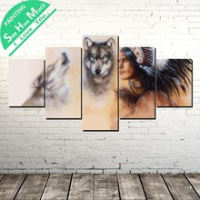 5 Piece King in the forest Wolf Modern Print Canvas Painting Art Print Poster Picture Wall art Picture Art poster Decoration недорго, оригинальная цена
